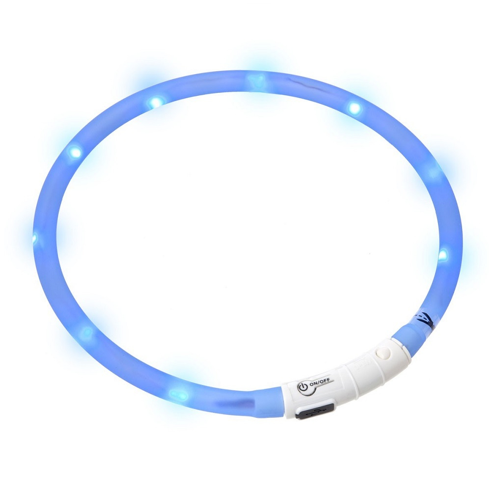KARLIE FLAMINGO Obojek USB Visio Light 70 cm modrý KAR