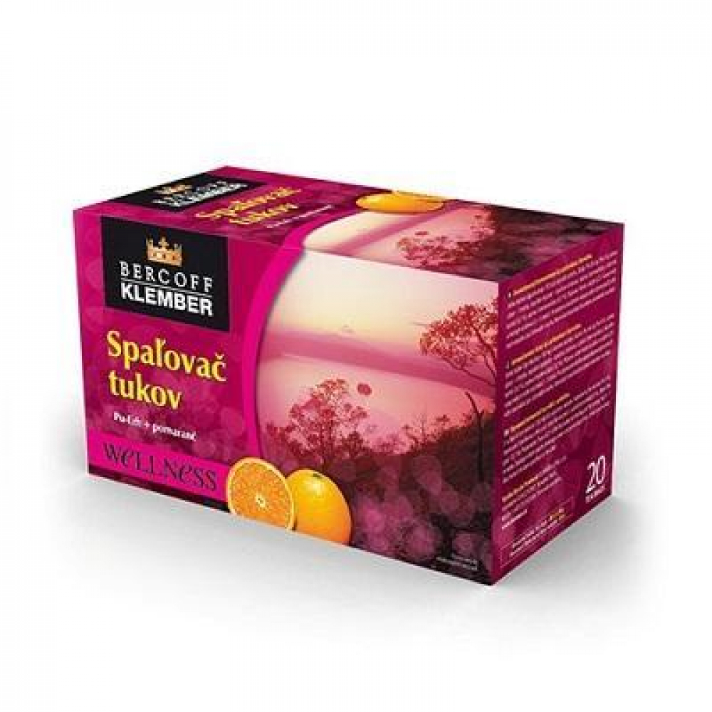BERCOFF KLEMBER Čaj Spalovač tuků Pu-erh pomeranč 20 sáčků