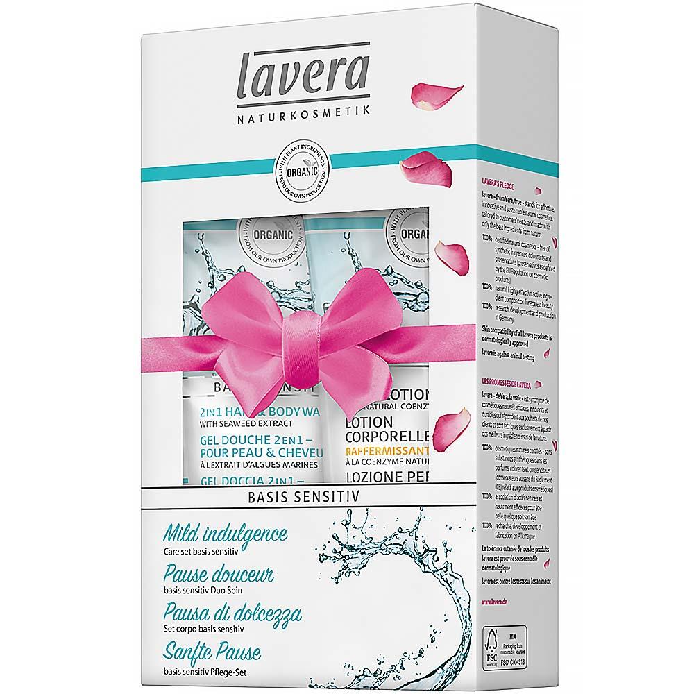 Lavera Basis Sensitiv zpevňující set Sprchový gel na tělo i vlasy 200 ml + Lavera Basic zpevňující tělové mléko Q10 200 ml dárková sada
