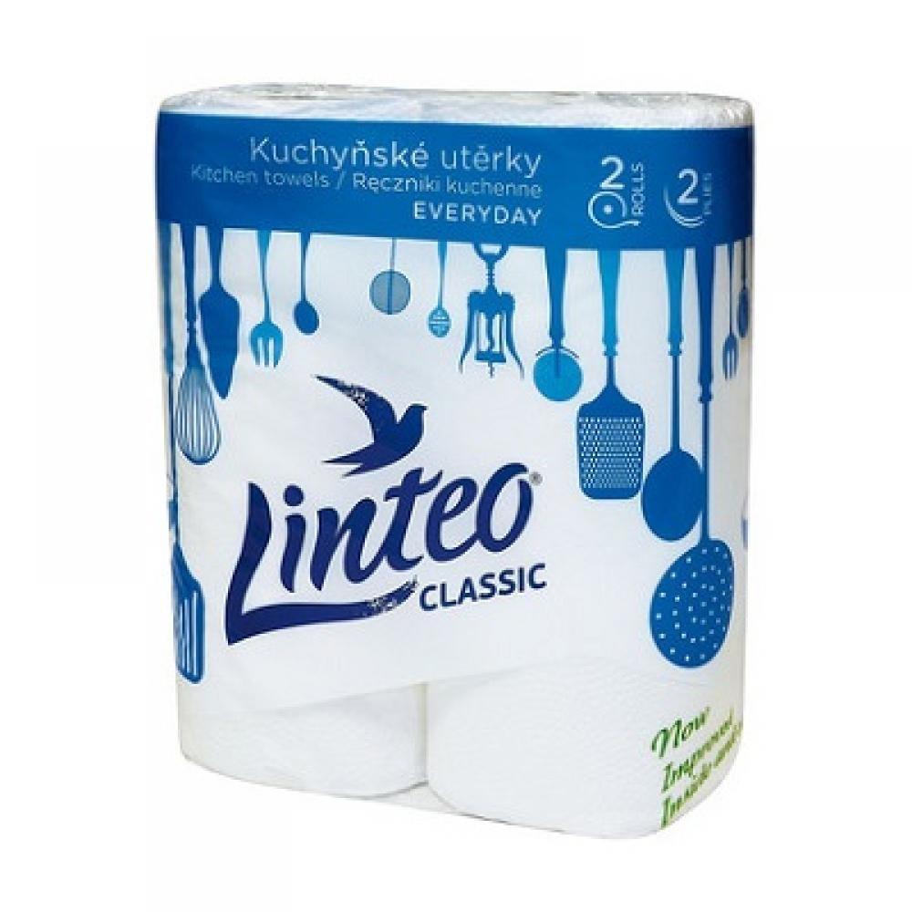 Kuchyňské utěrky Linteo Classic, 2 role, bílé, 2-vrstvé