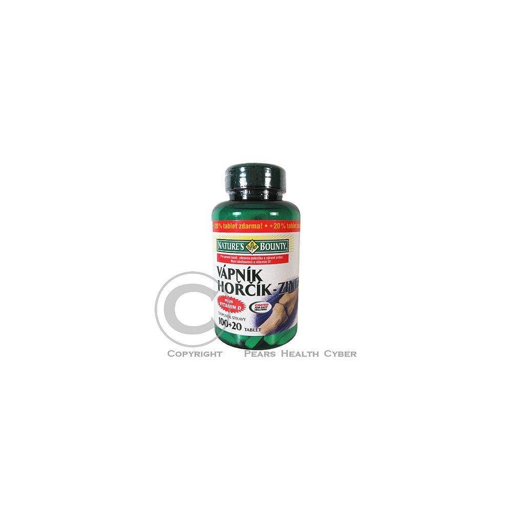 NATURE\'S Bounty Vápník-hořčík-zinek+vitamin D tbl.100+20