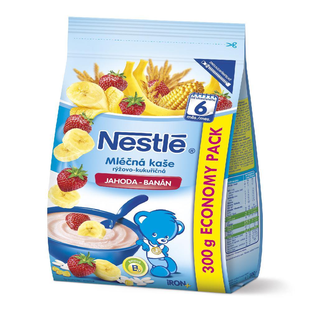 NESTLÉ Mléčná kaše rýžovo-kukuřičná Jahoda-Banán 300 g