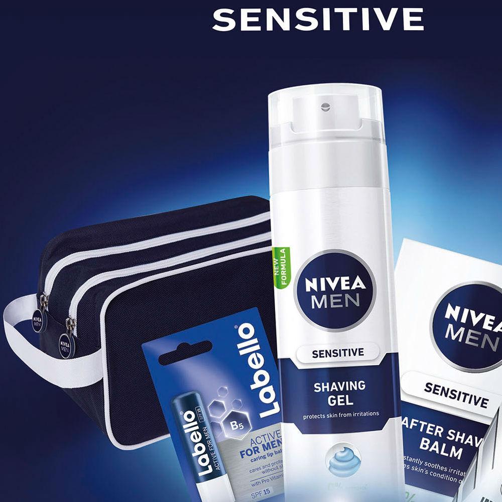 Nivea Men Sensitive balzám po holení 100 ml + gel na holení 200 ml + antiperspirant Invisible Black & White Original 50 ml + Labello Active Men 4,8 g + etue dárková sada