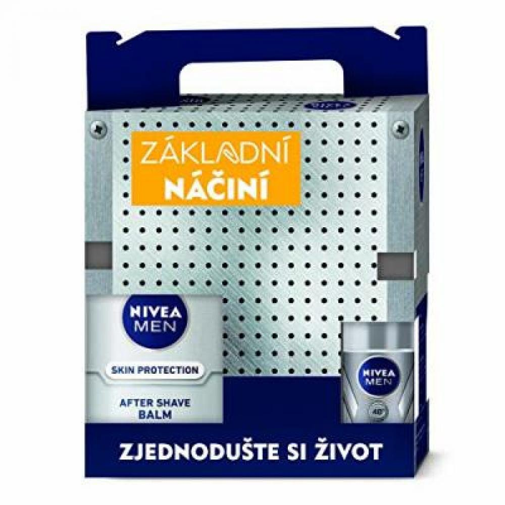NIVEA MEN Tool Box Silver – gel 200 ml + balzám 100 ml + roll-on 50 ml + krém 150 ml