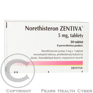 NORETHISTERON ZENTIVA  30X5MG Tablety