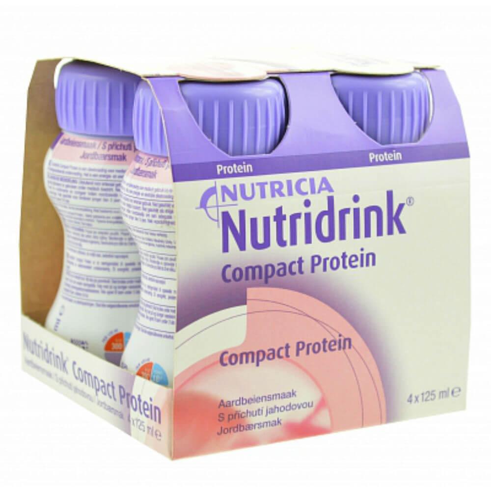 NUTRIDRINK COMPACT PROTEIN S PŘÍCHUTÍ JAHODOVOU 4X125ML Roztok