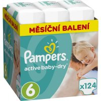 PAMPERS Active Baby-Dry Monthly 6 EXTRA LARGE 15+ kg 124 kusů