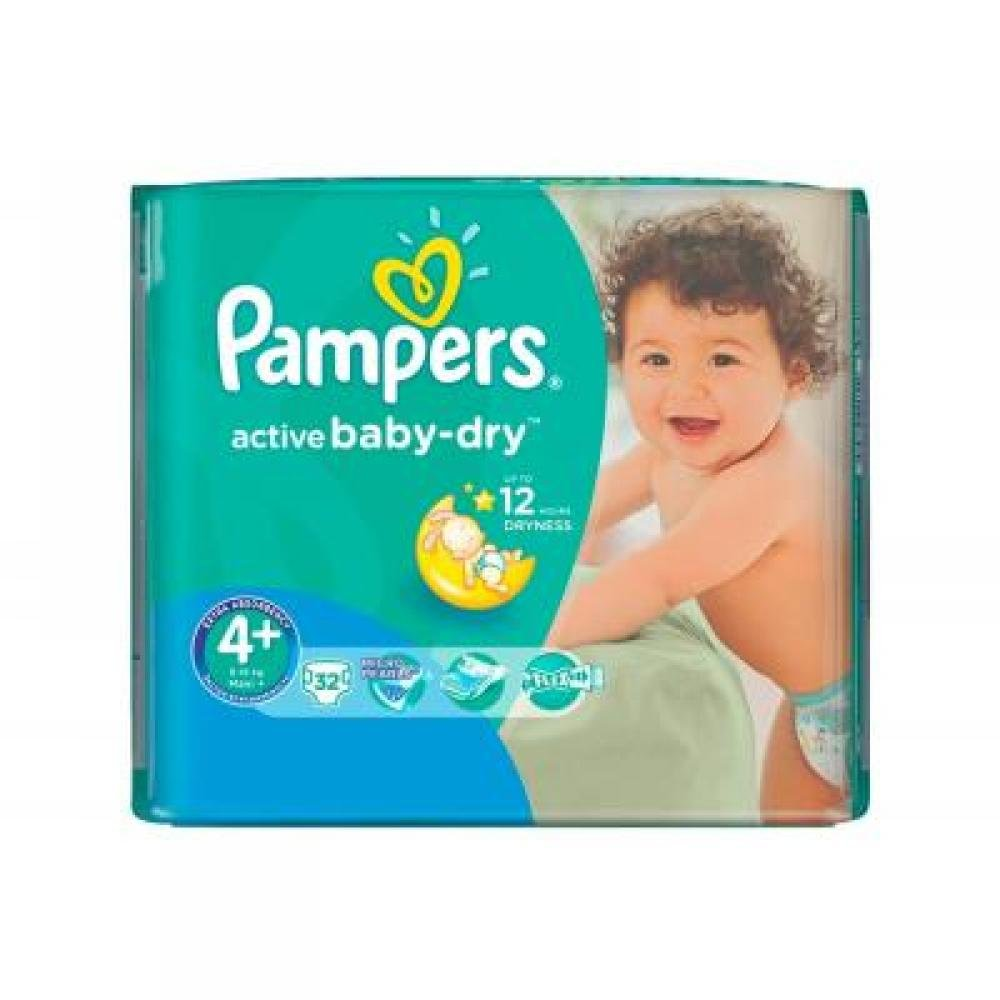 PAMPERS Active Baby-Dry 4+ MAXI 9-16 kg 32 kusů