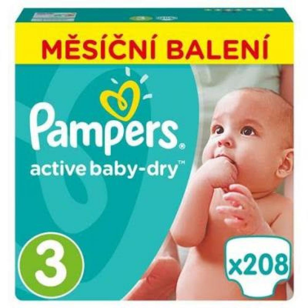 PAMPERS Active Baby-Dry 3 MIDI 5-9 kg 208 kusů