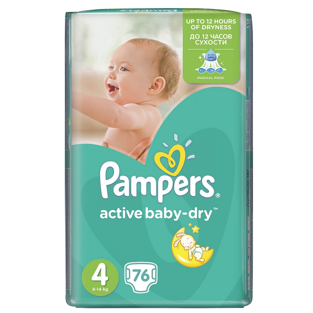 PAMPERS Active Baby-Dry 4 MAXI 7-14 kg 76 kusů