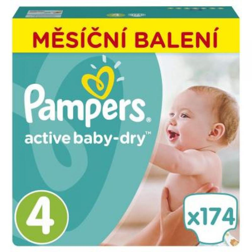 PAMPERS Active Baby-Dry 4 MAXI 7-14 kg 174 kusů