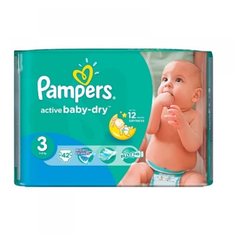 PAMPERS Active Baby-Dry 3 MIDI 4-9 kg 42 kusů