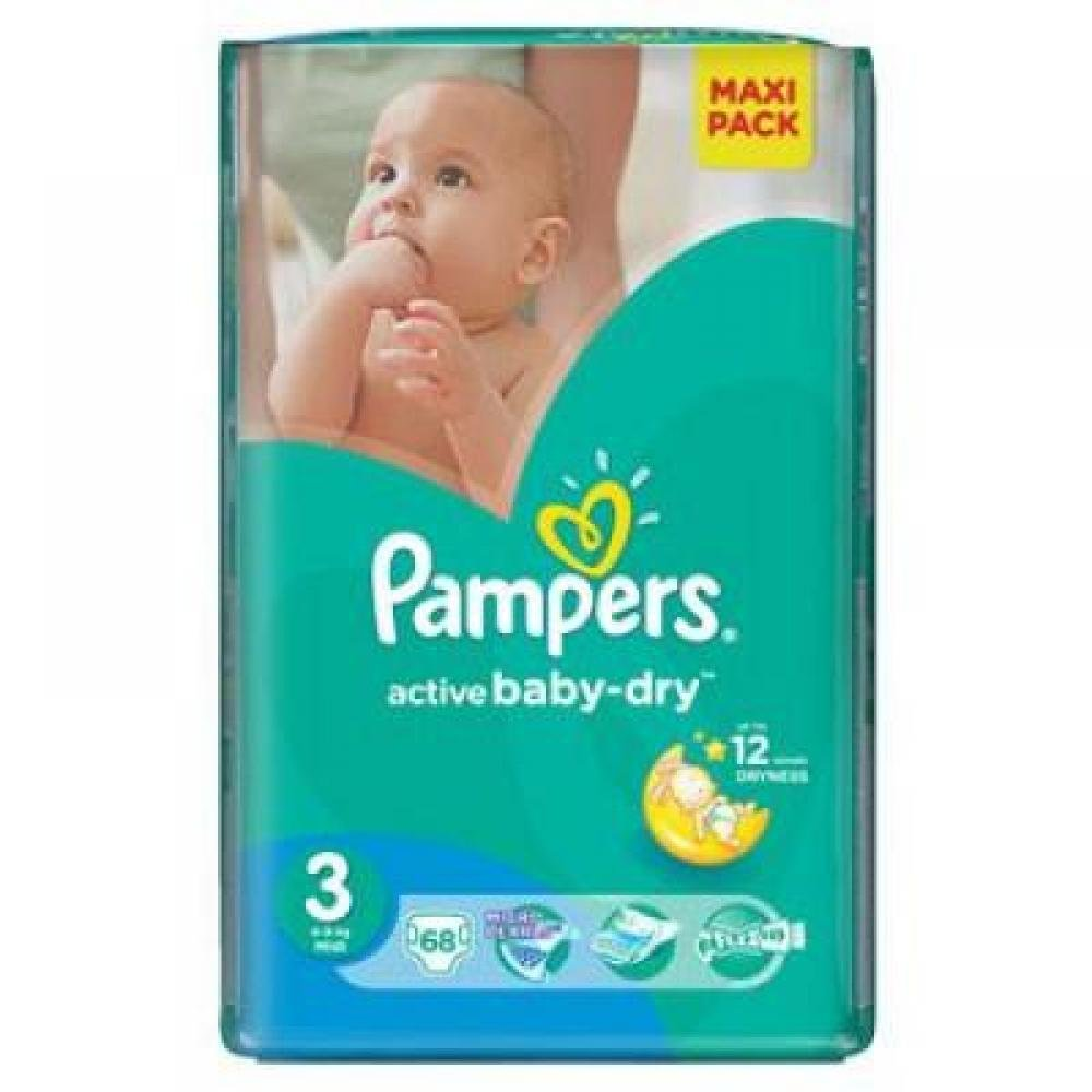 PAMPERS Active Baby-Dry 3 MIDI 5-9 kg 68 kusů