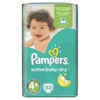 PAMPERS Active Baby-Dry 4+ MAXI 9-16 kg 53 kusů