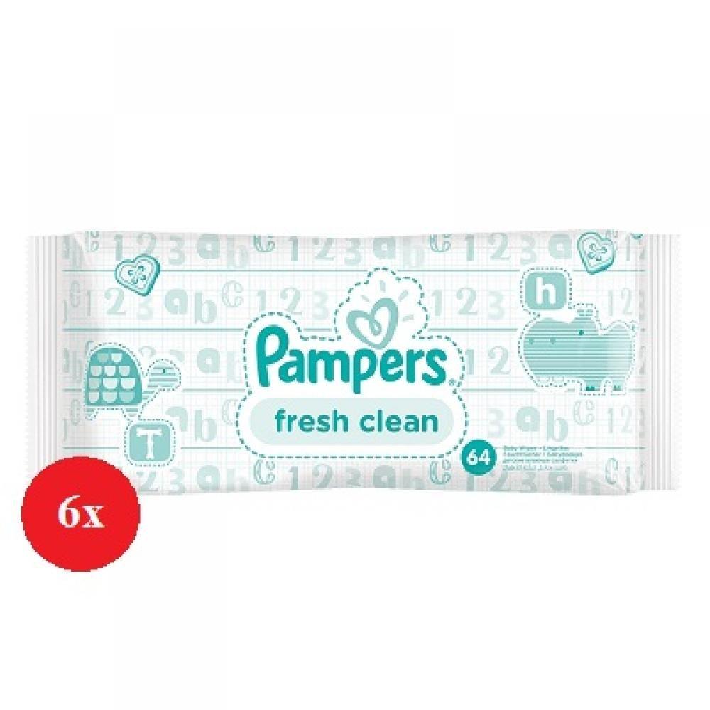 PAMPERS Vlhčené ubrousky Fresh Clean 6x64 kusů