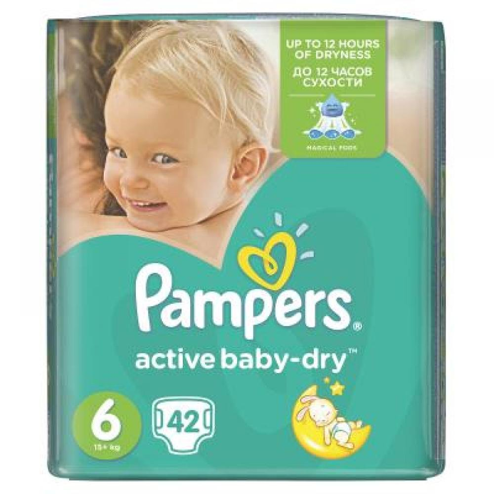 PAMPERS Active Baby-Dry 6 EXTRA LARGE 15+ kg 42 kusů