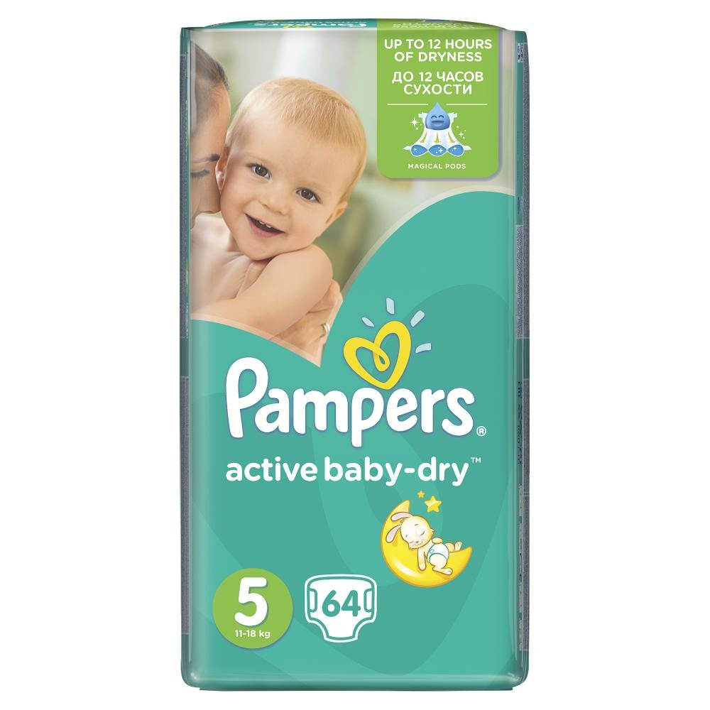 PAMPERS Active Baby-Dry 5 JUNIOR 11-18 kg 64 kusů