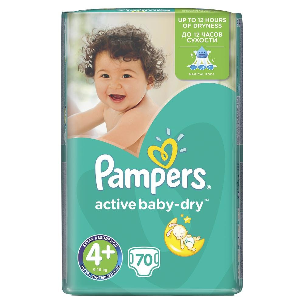 PAMPERS Active Baby-Dry 4+ MAXI 9-16 kg 70 kusů