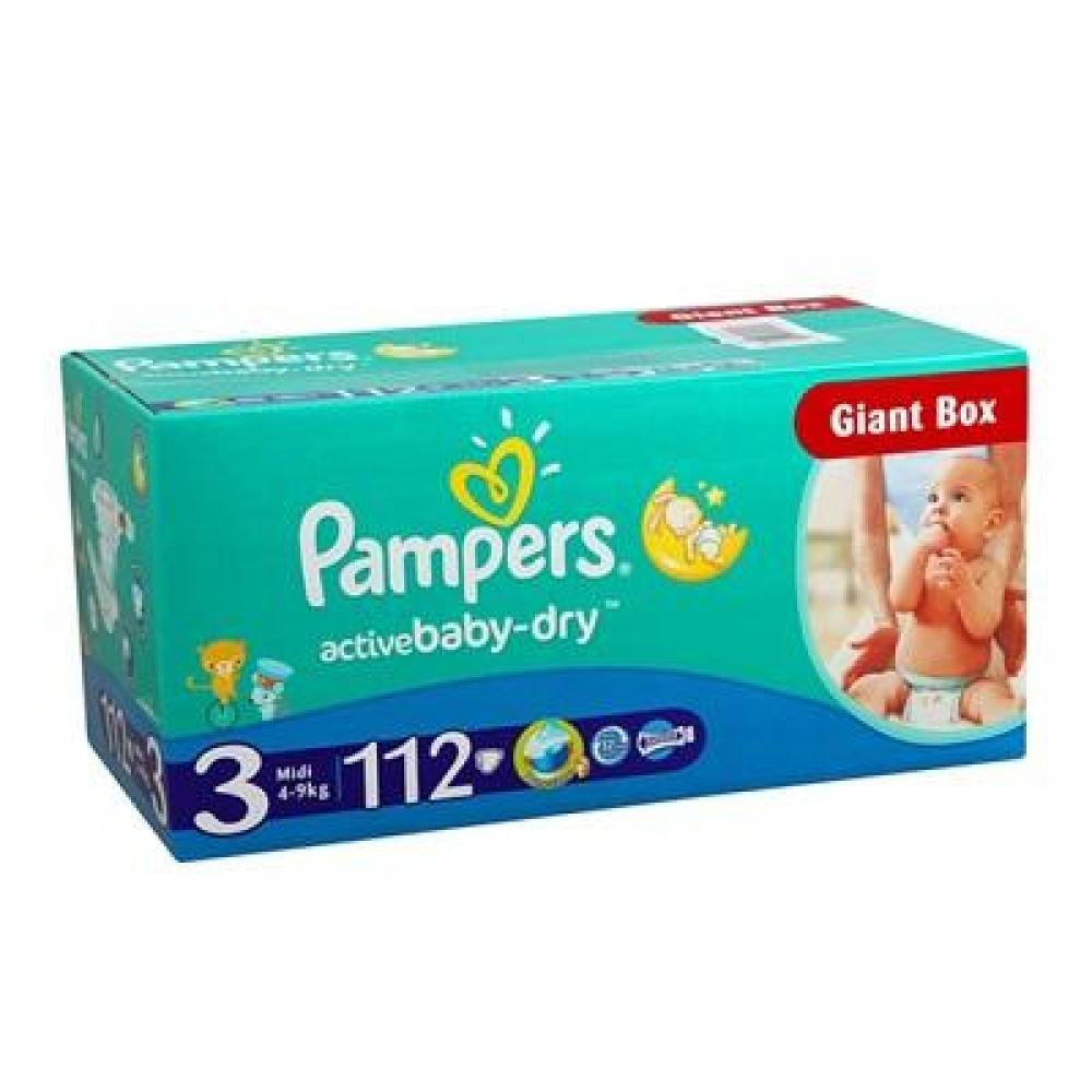PAMPERS Active Baby-Dry 3 MIDI 4-9 kg 112 kusů