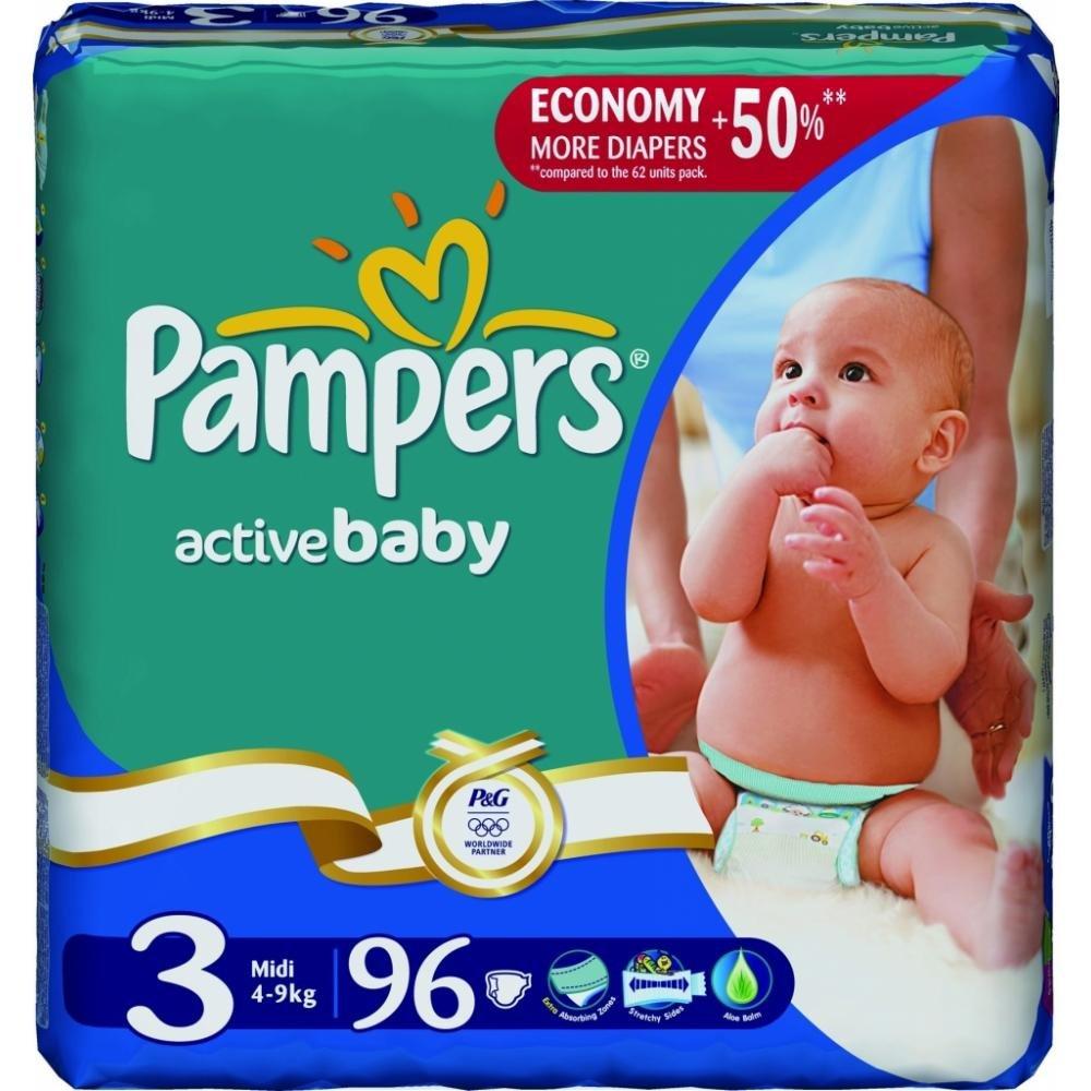 PAMPERS Active baby 3 midi 5-9 kg 90 kusů