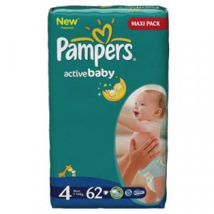 PAMPERS Active baby 4 maxi 7-14 kg 62 kusů