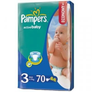 PAMPERS Active baby 3 midi 4-9 kg 70 kusů