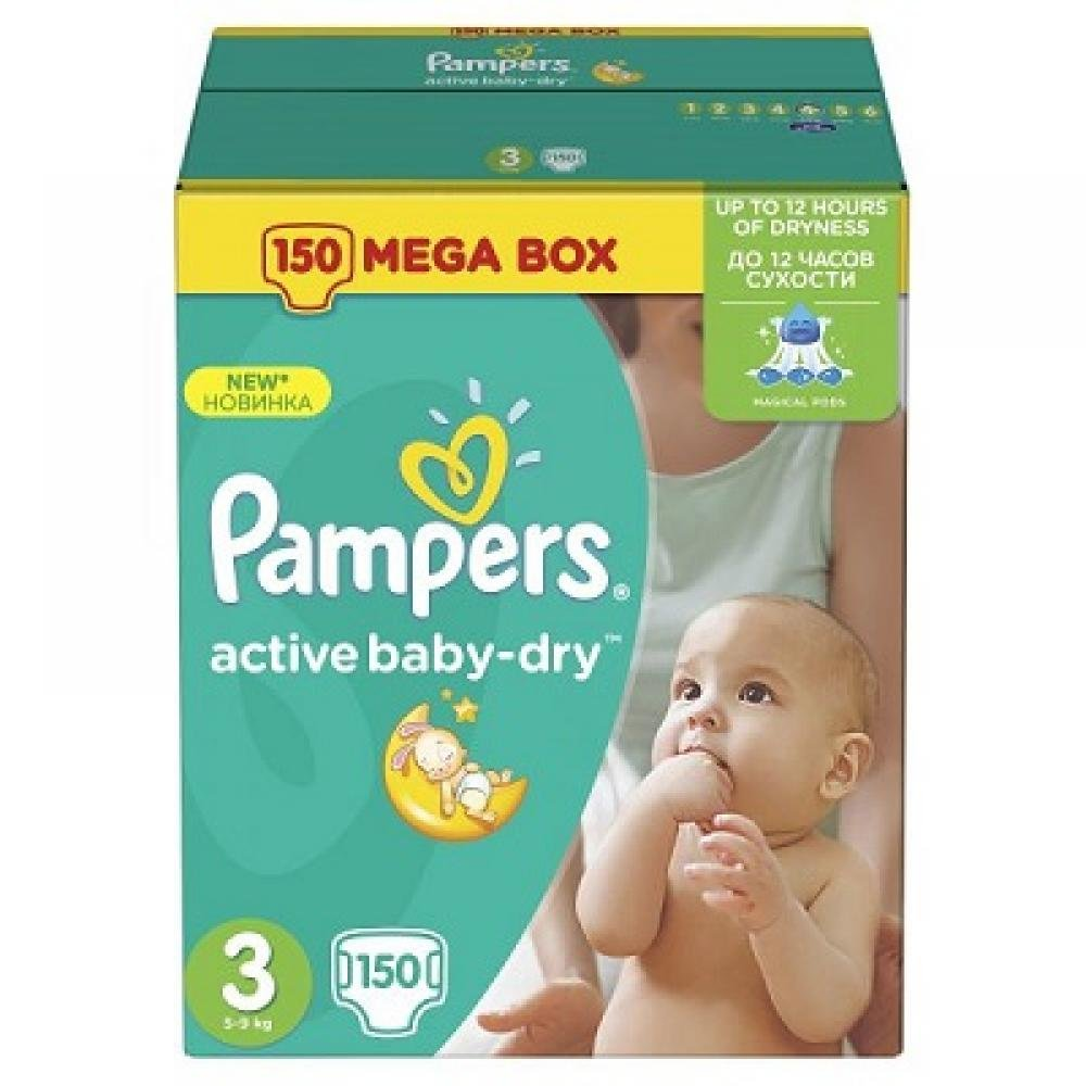 PAMPERS Active Baby-Dry 3 MIDI 4-9 kg 150 kusů