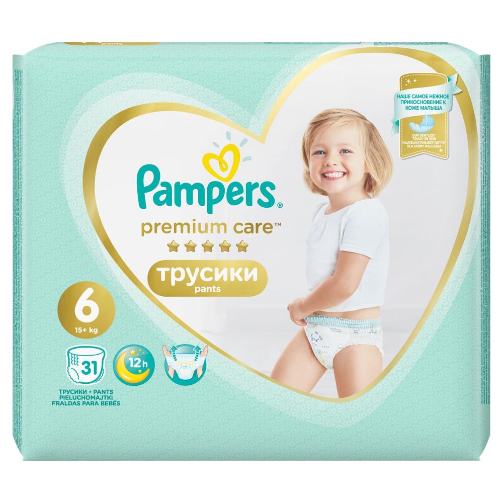 PAMPERS Premium Care Pants vel.6 Plenkové kalhotky 15+kg 31 ks