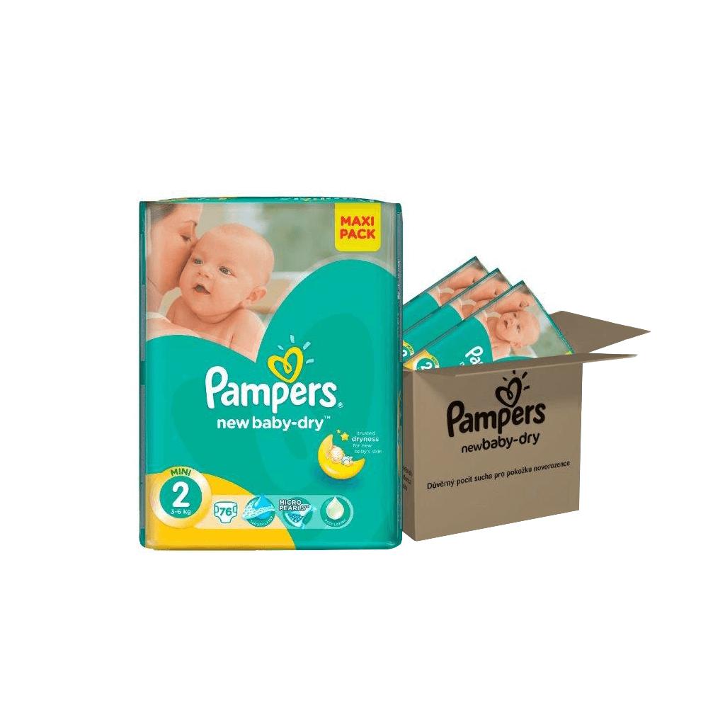 PAMPERS Plenky New Baby Dry 2 Mini, 3-6 kg Měsíční box 3x76 ks
