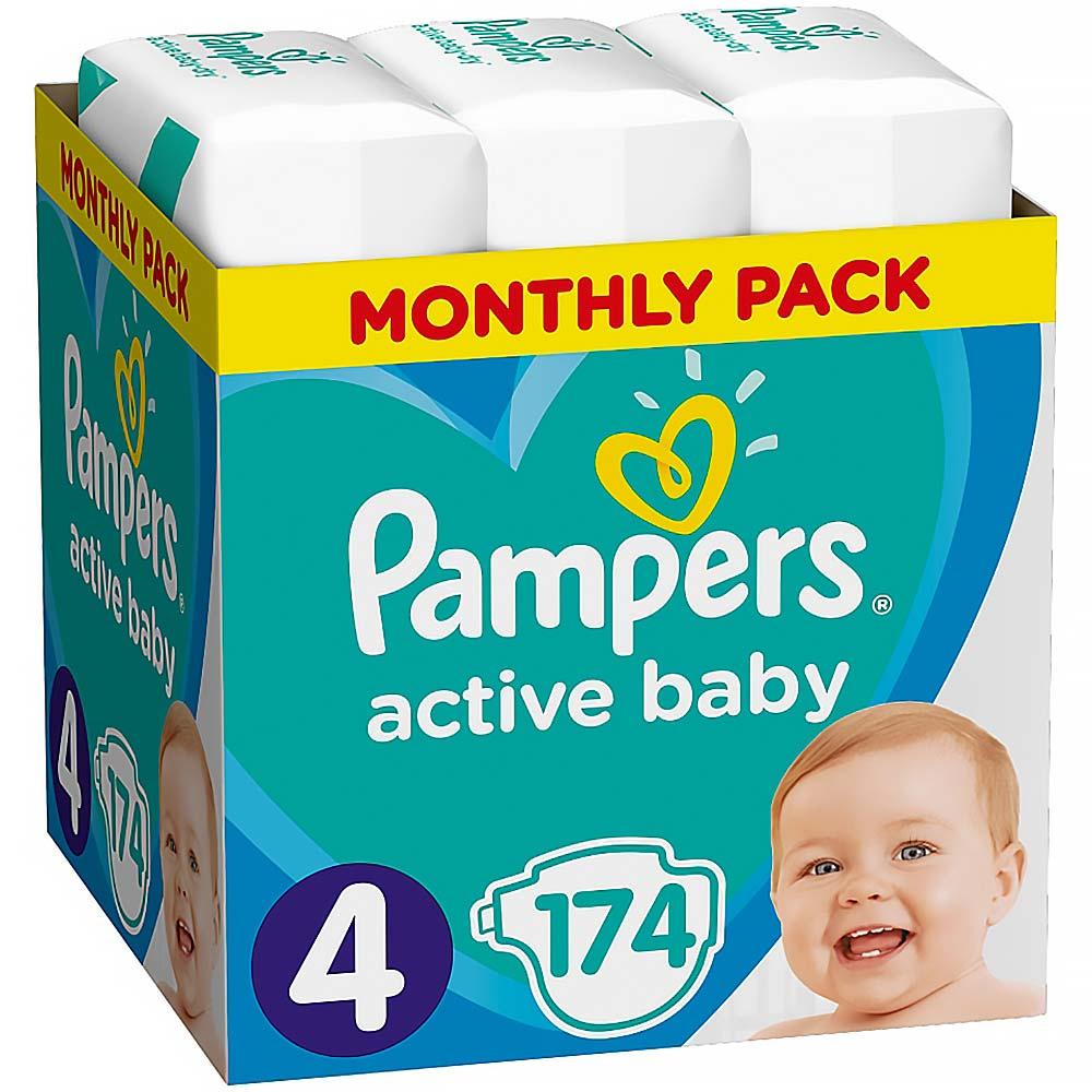 PAMPERS Active Baby velikost 4 9–14 kg 174 plenek