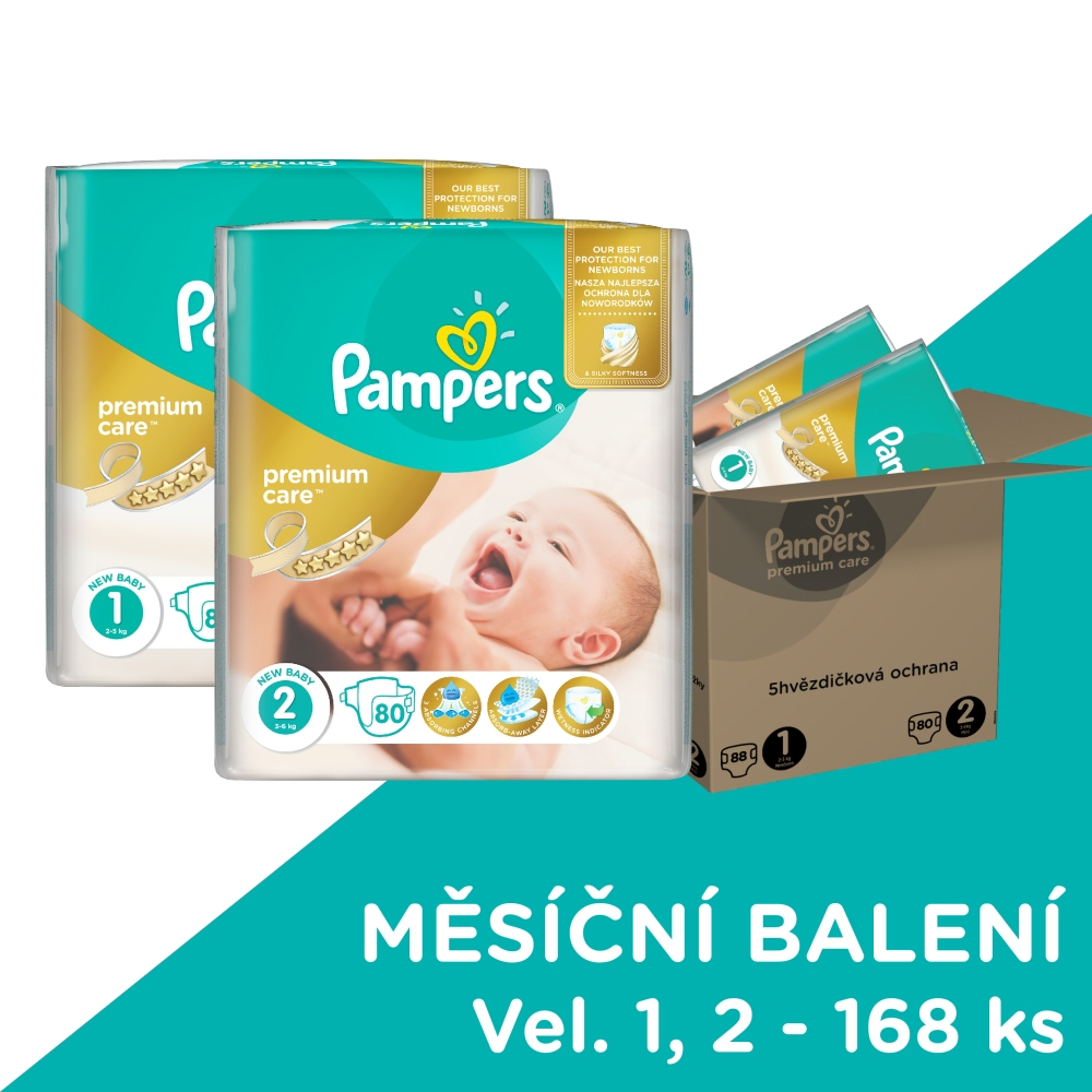PAMPERS Premium Care 1 NEWBORN 88 kusů + Premium Care 2 MINI 80 kusů