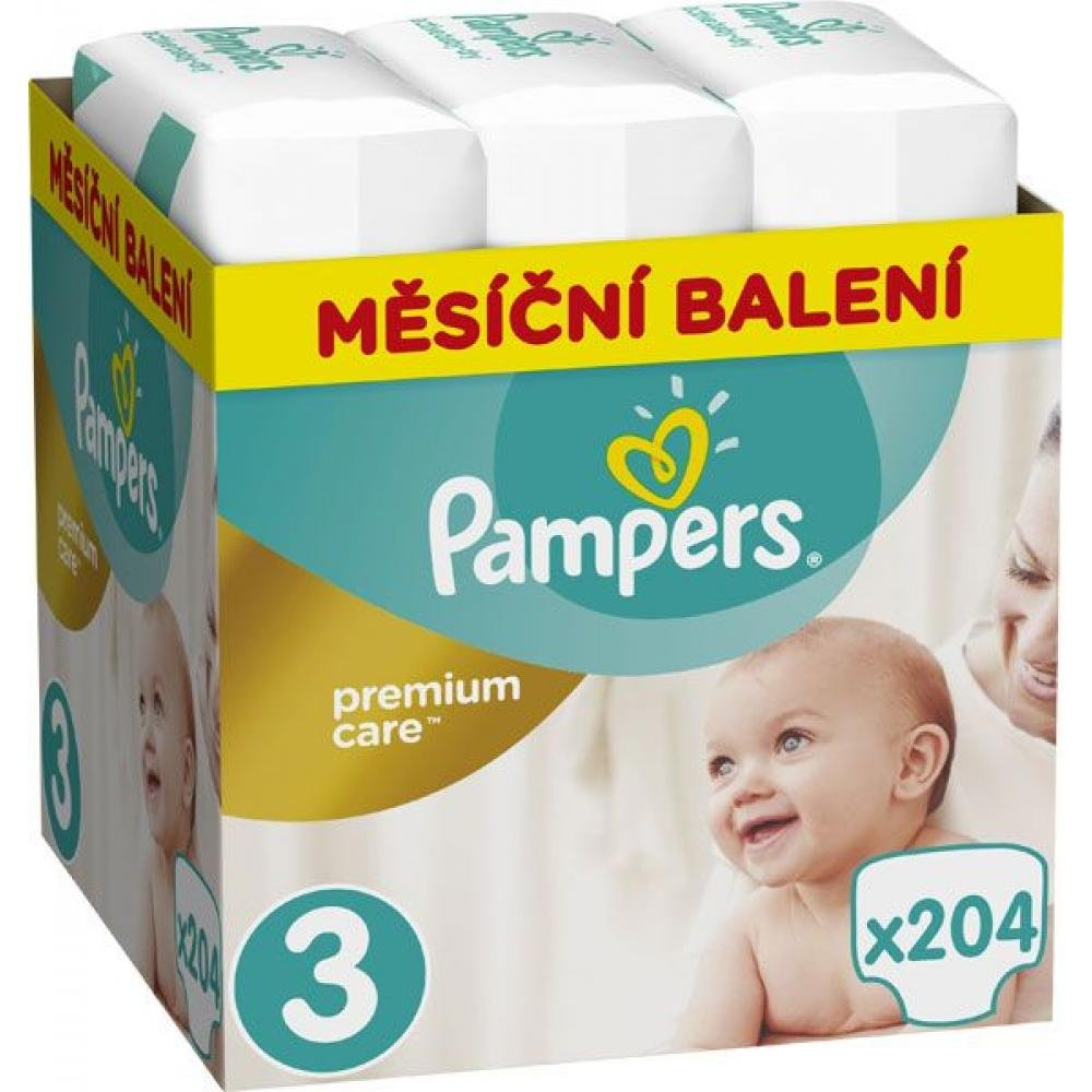 PAMPERS Premium Care Monthly 3 MIDI 5-9 kg 204 kusů