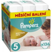 PAMPERS Premium Care Monthly 5 JUNIOR 11-18 kg 136 kusů