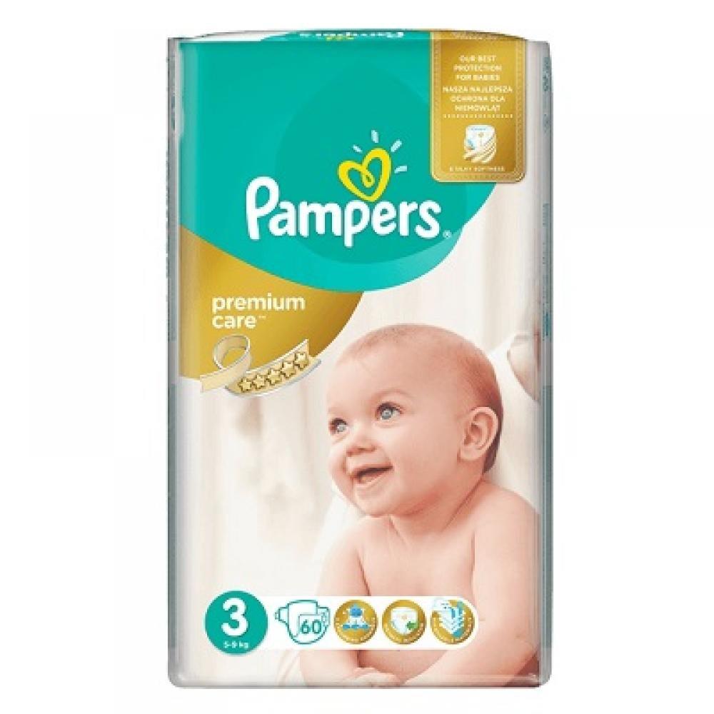 PAMPERS Premium Care 3 MIDI 4-9 kg 60 kusů + Dárek PAMPERS Vlhčené ubrousky Sensitive 56 kusů ZDARMA