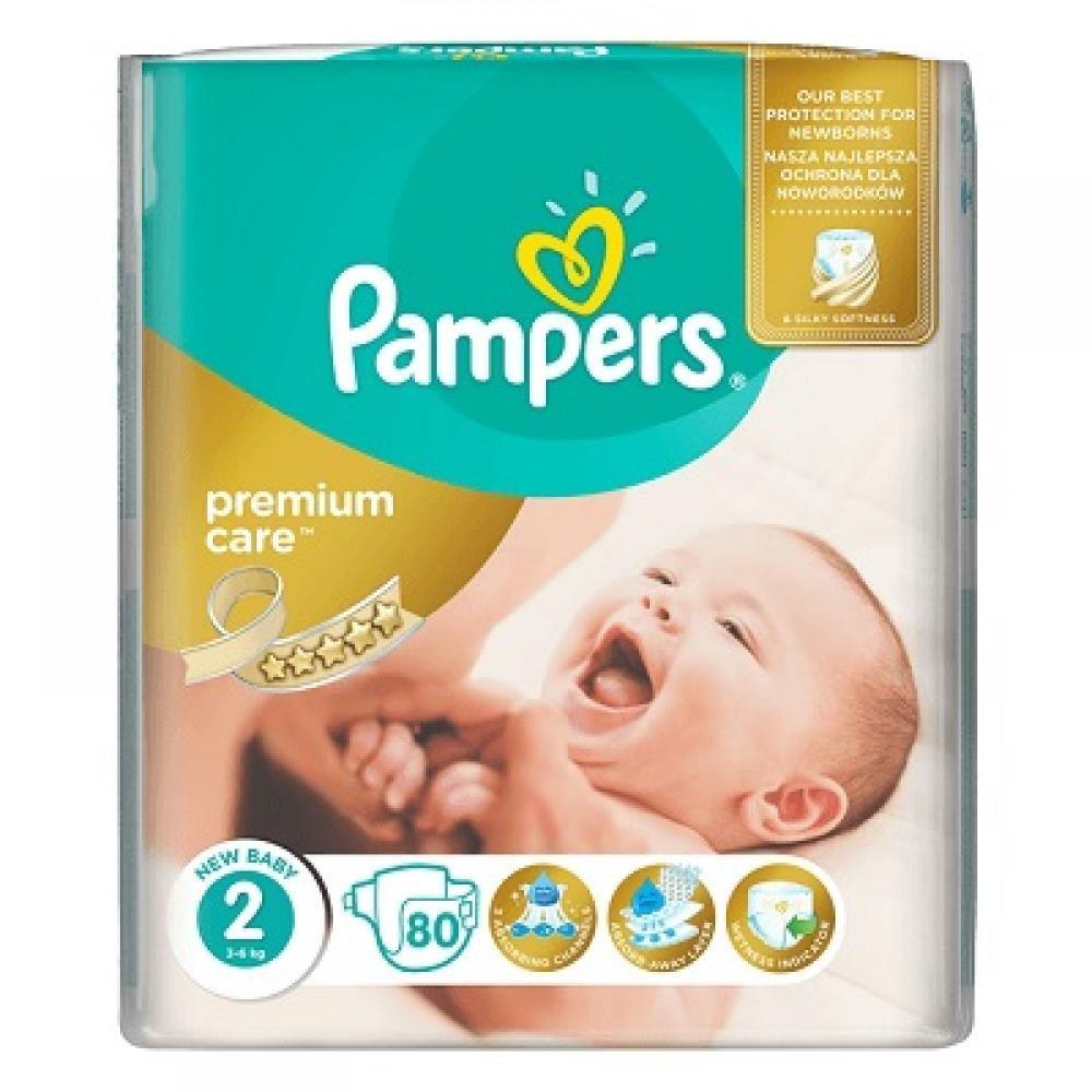 PAMPERS Premium Care 2 MINI 3-6 kg 80 kusů + Dárek PAMPERS Vlhčené ubrousky Sensitive 56 kusů ZDARMA