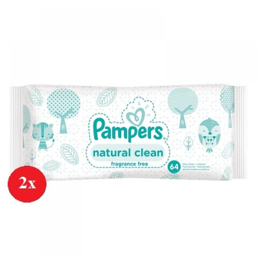 Pampers Vlhčené ubrousky Natural Clean 2 x 64 kusů