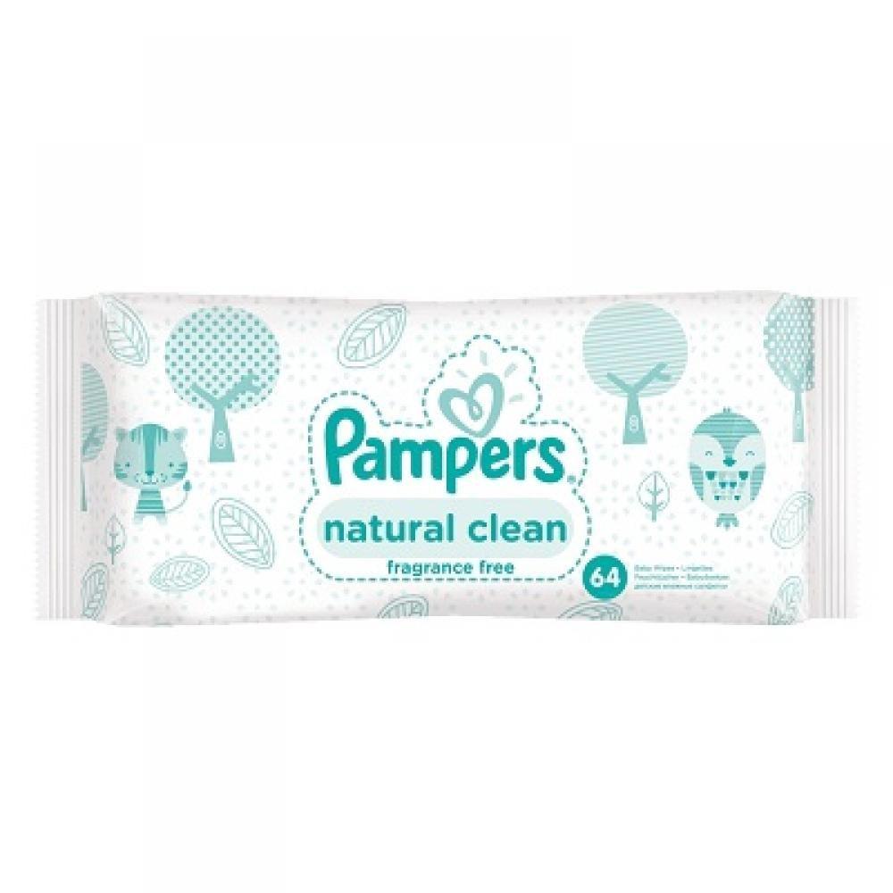 PAMPERS Vlhčené ubrousky Natural Clean 64 kusů