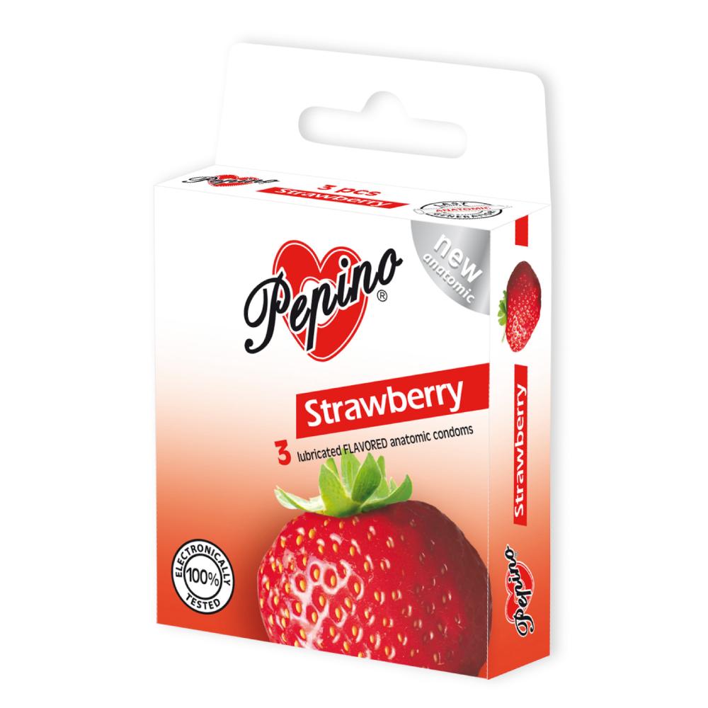 PEPINO Kondomy Jahoda 3 kusy