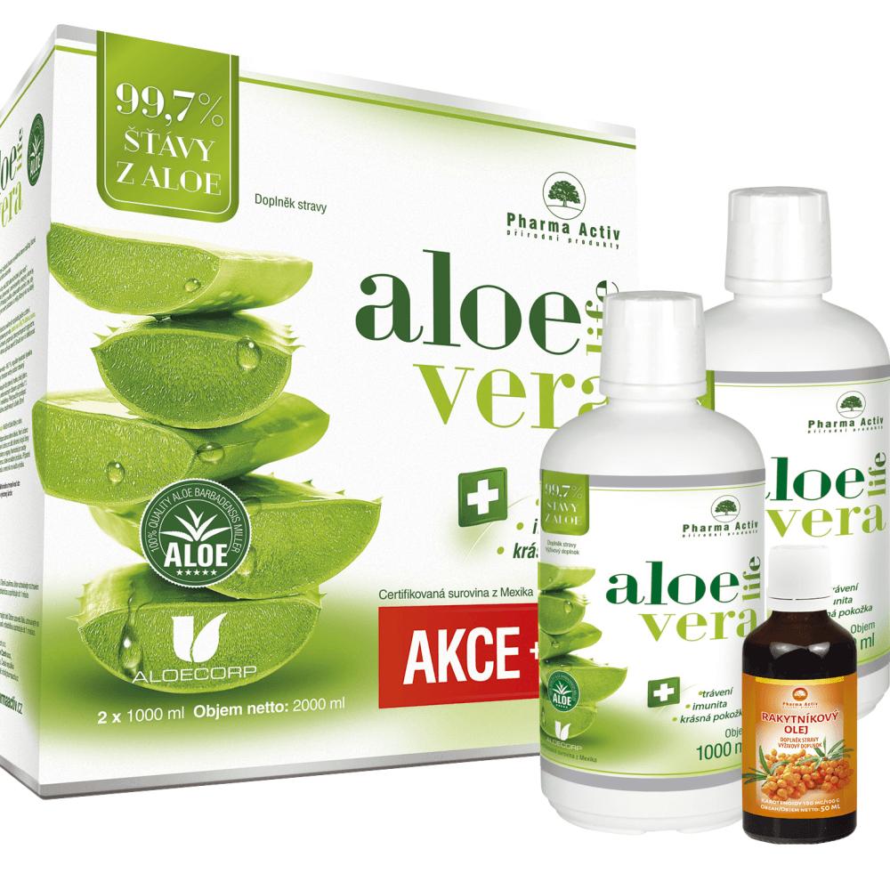 PHARMA ACTIV Aloe Vera Live 1000 ml 1+1 ZDARMA + dárek Rakytníkový olej 50 ml