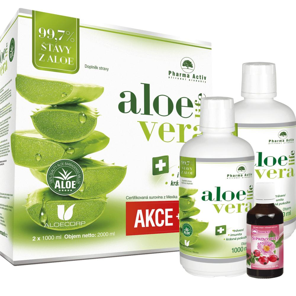 PHARMA ACTIV Aloe Vera Live 1000 ml 1+1 ZDARMA + dárek Šípkový olej 50 ml