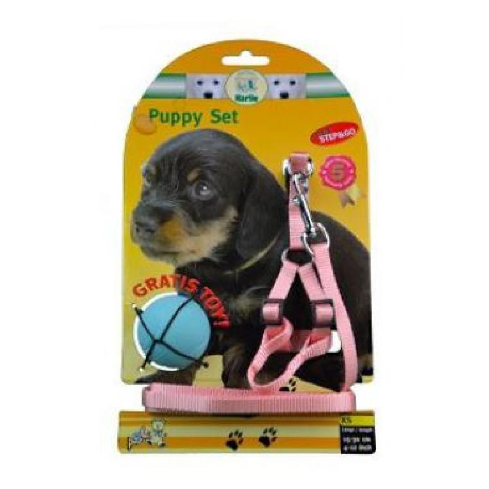 KARLIE Postroj štěně nylon+vodítko růžové 130 cm