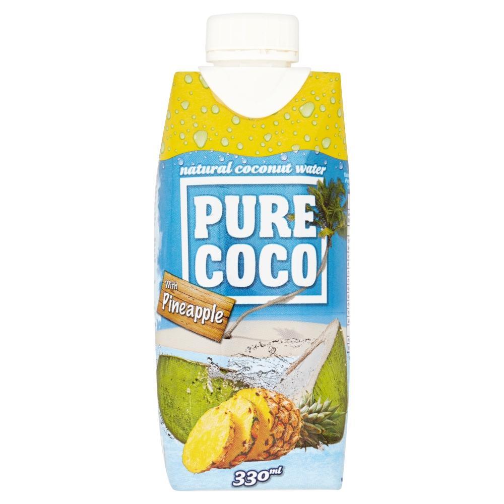 PURE COCO 100% kokosová voda s příchutí ananasu 330 ml
