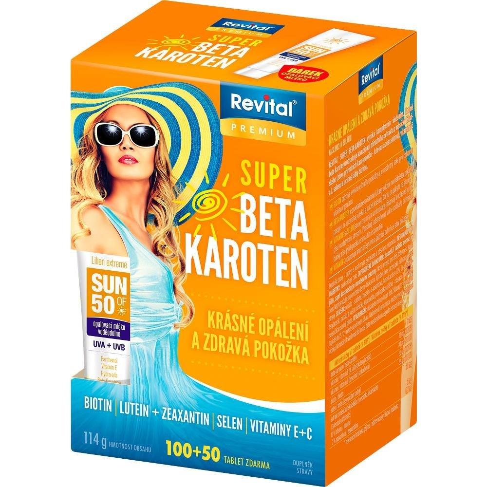 REVITAL Super Beta-karoten 100+50 tablet + opalovací mléko 15 ml výprodej