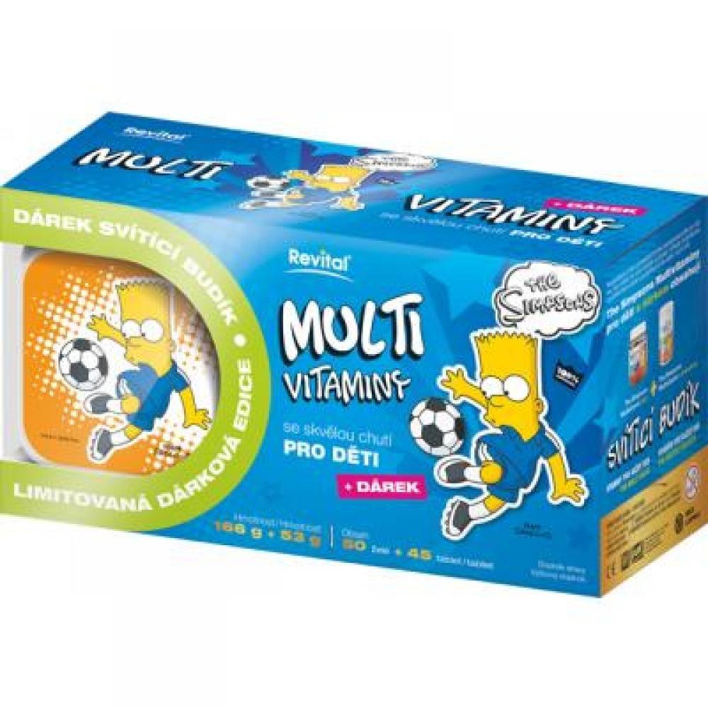 REVITAL The Simpsons Multivitaminy pro děti Bart 50 želé + 45 tablet + DÁREK svítící budík výprodej