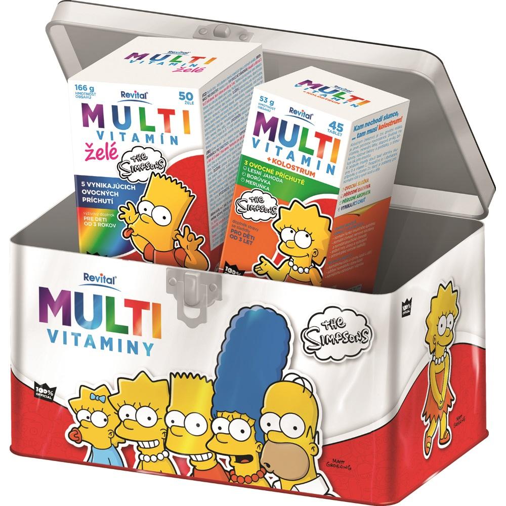 REVITAL The Simpsons Multivitaminy v plechové dóze 50 želé + 45 tablet