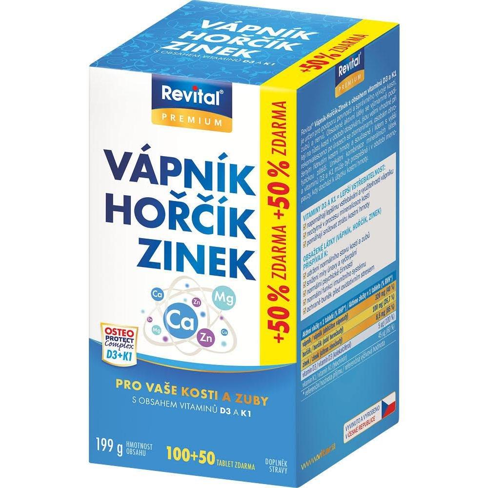 VITAR Vápník, Hořčík, Zinek + vitamín D3 + K1 150 tablet