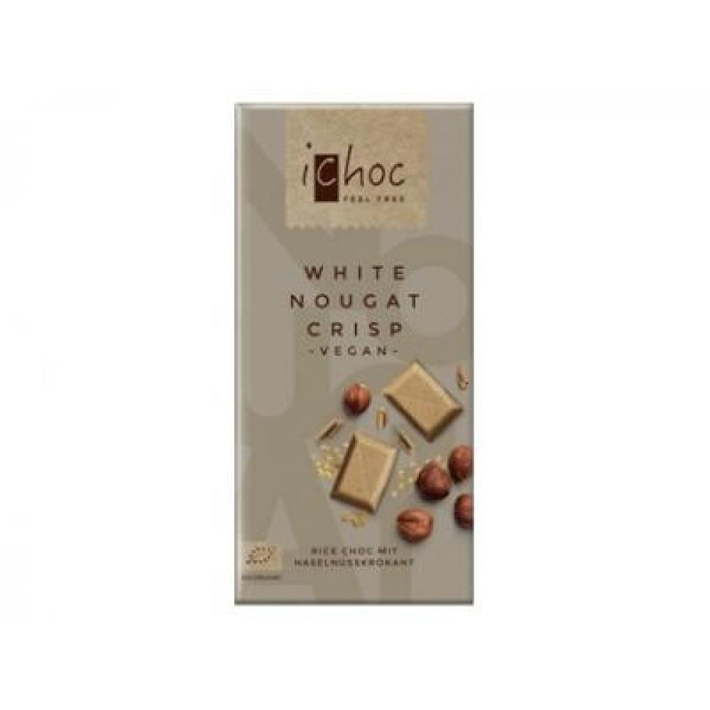 Rýžová bílá nugát s oříšky iChoc 80g