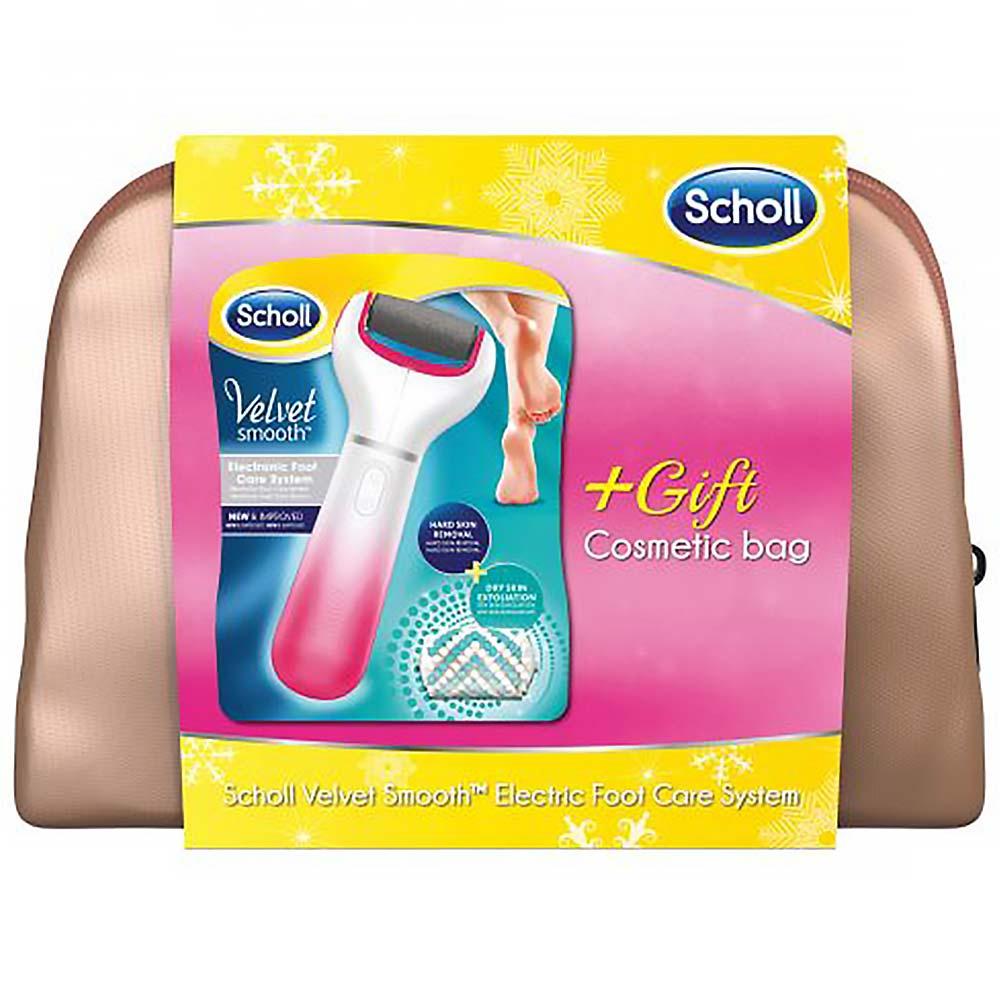 SCHOLL Velvet Smooth elektrický pilník na chodidla + kosmetická bronzová taška