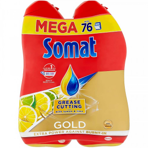SOMAT Gold Mega gel Grease Cutting Lemon & Lime 2x 684 ml