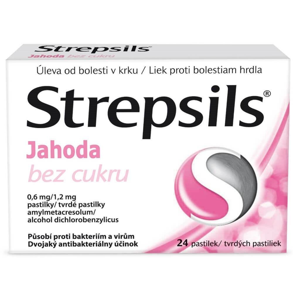 STREPSILS Jahoda bez cukru 0.6mg/1.2mg 24 pastilek